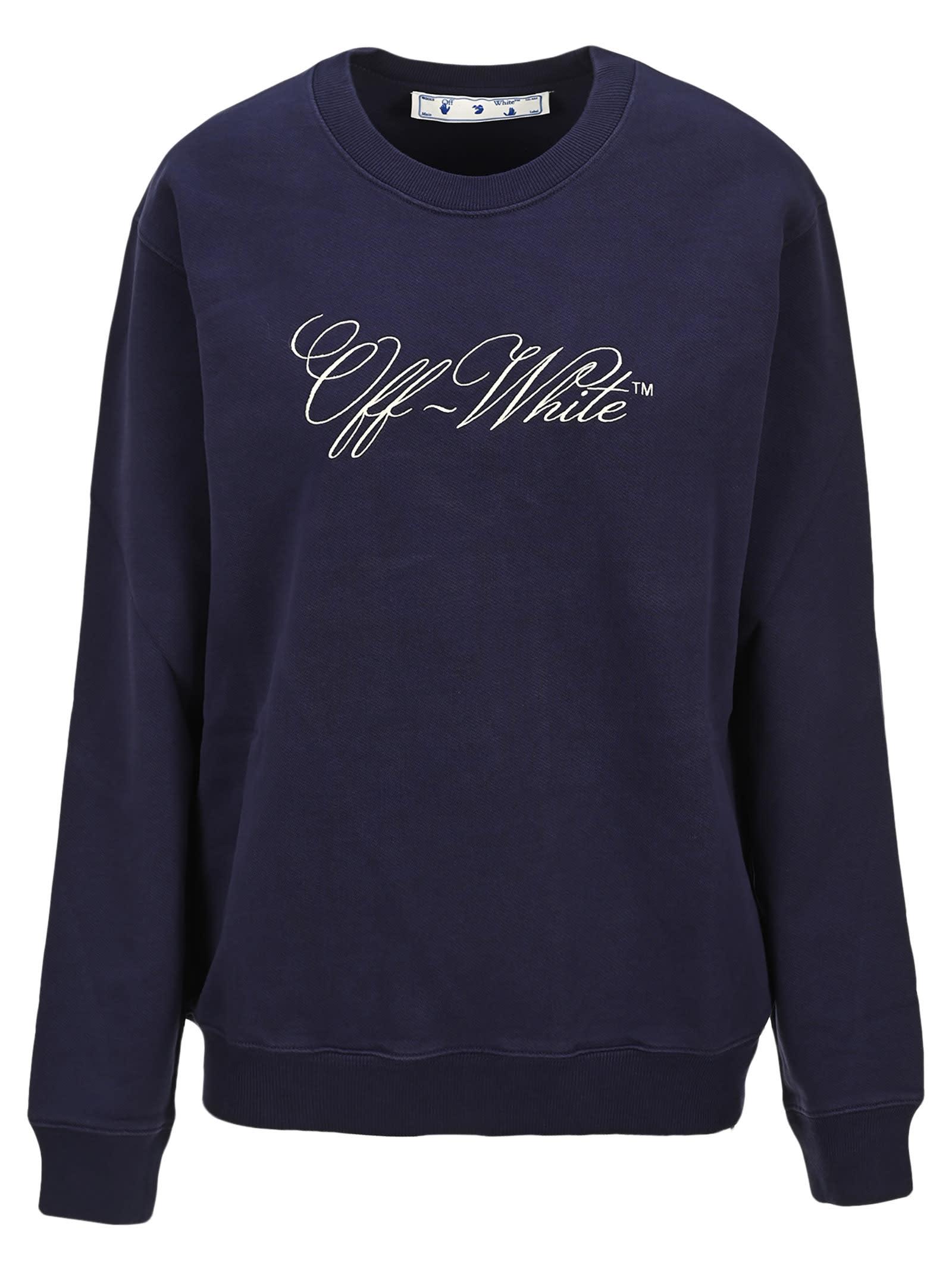 Off White Embroidered Logo Sweatshirt