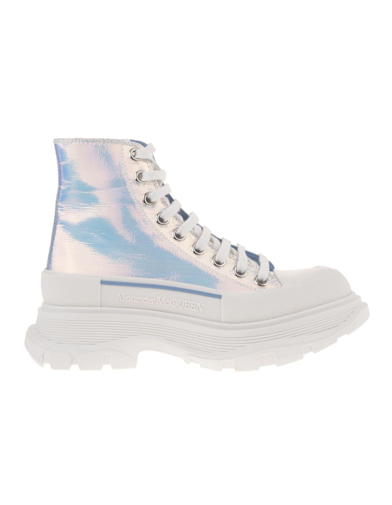 Alexander McQueen Woman Iridescent Tread Slick Lace-up High Sneakers