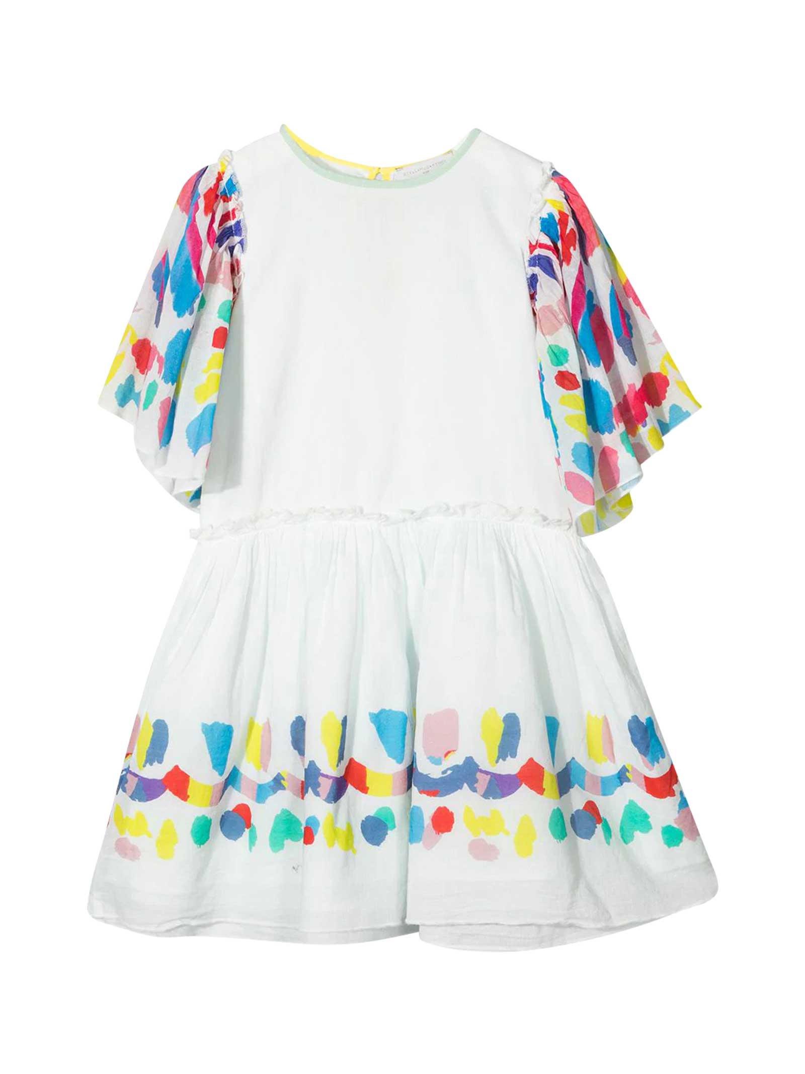 Buy Stella McCartney Kids White Dress With Multicolor Print online, shop Stella McCartney Kids with free shipping