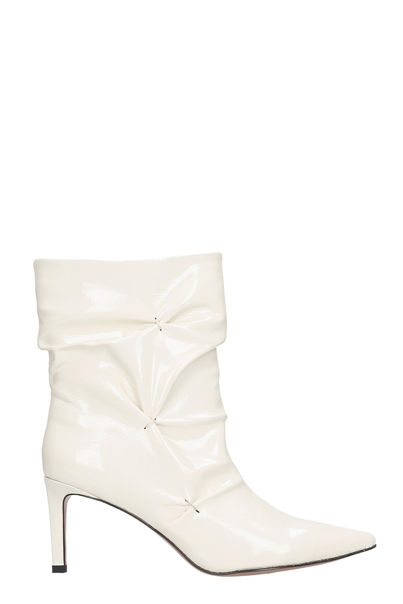 Bibi Lou High Heels Ankle Boots In White Patent Leather