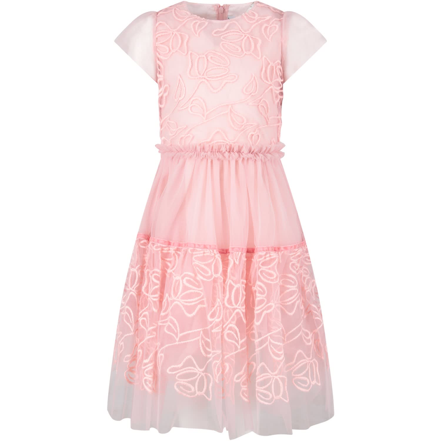 Simonetta Pink Girl Dress With Roses