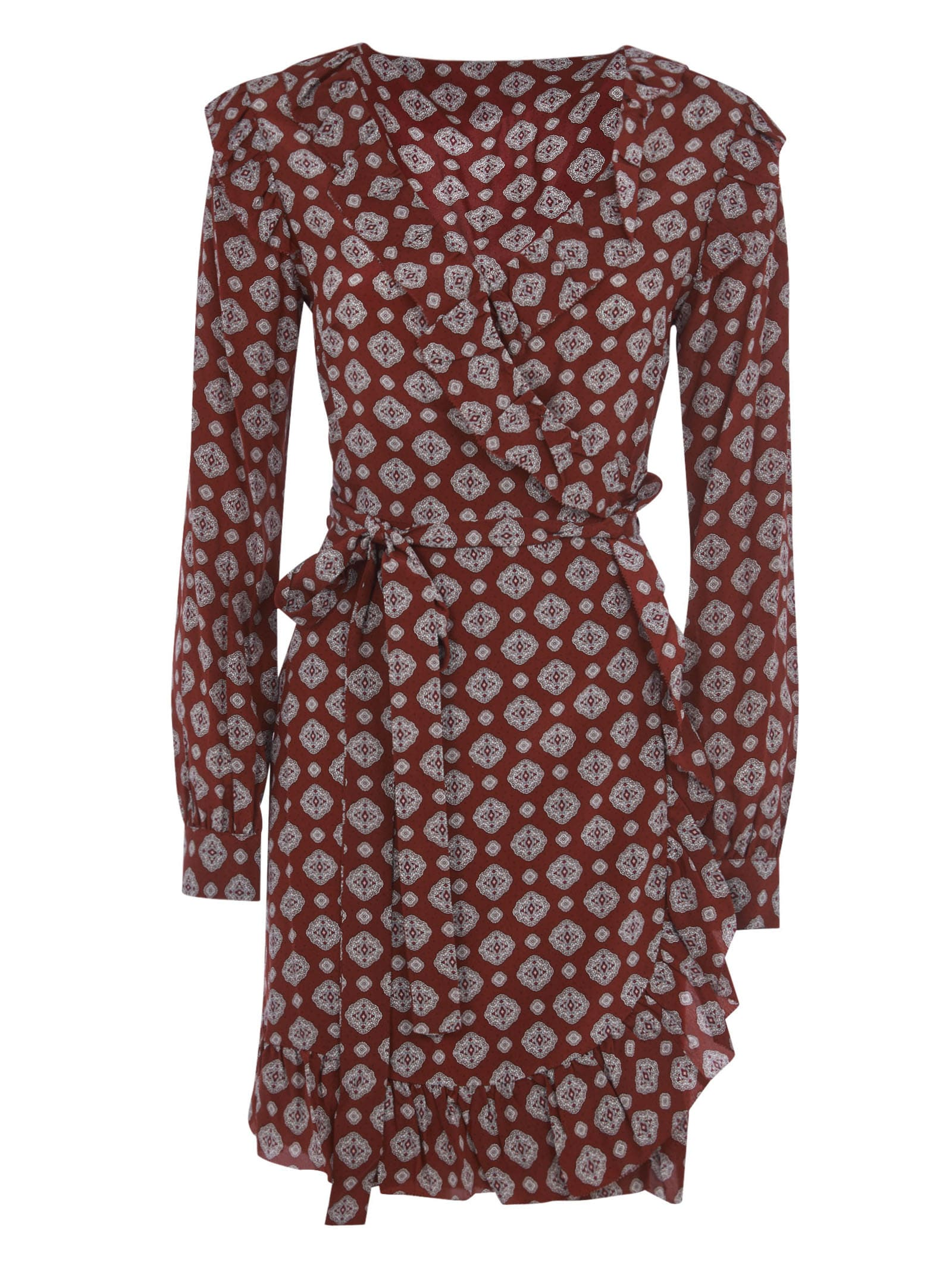 Michael Kors PATTERN PRINT BELTED V-NECK DRESS