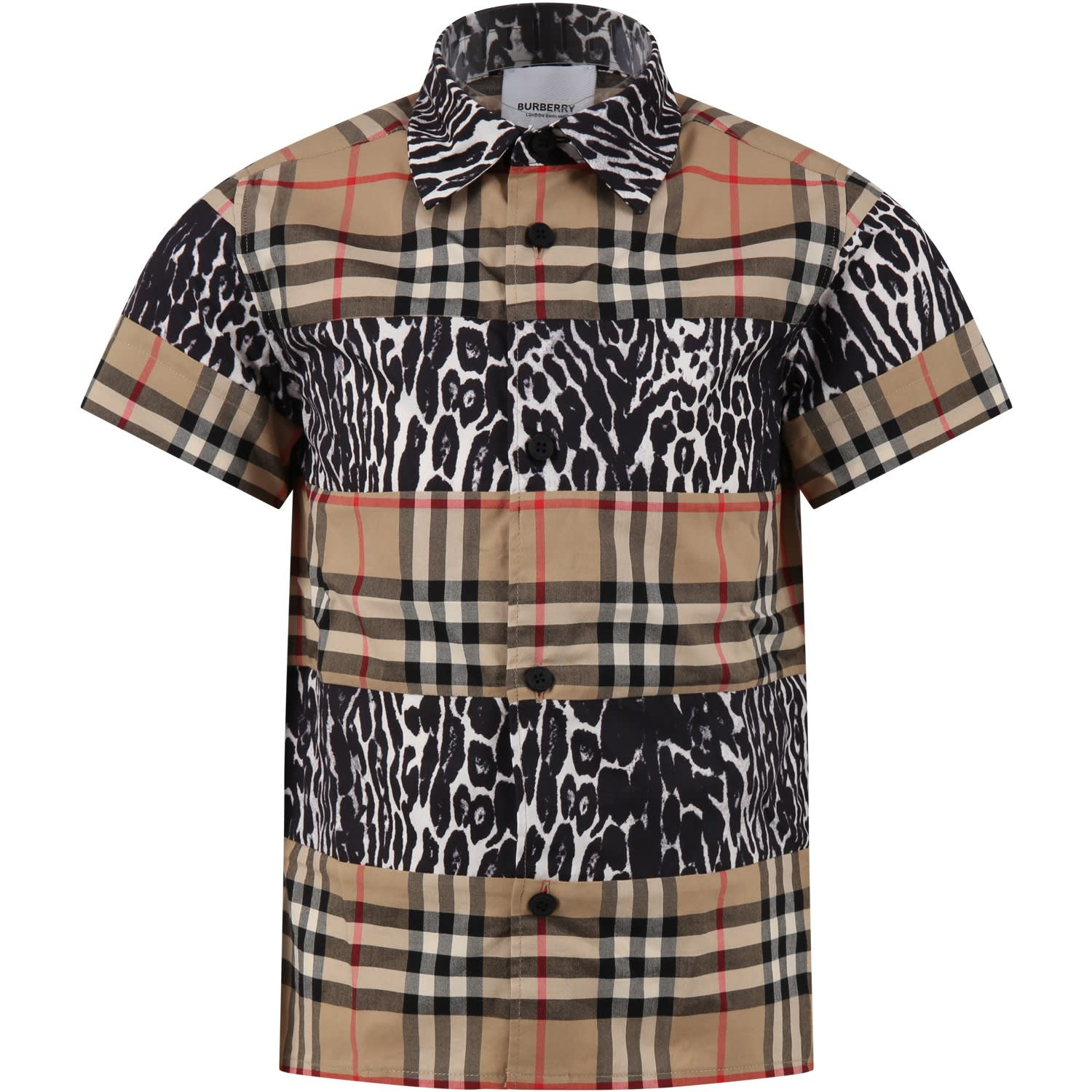 Burberry Kids' Beige Shirt For Boy With Vintage Checks