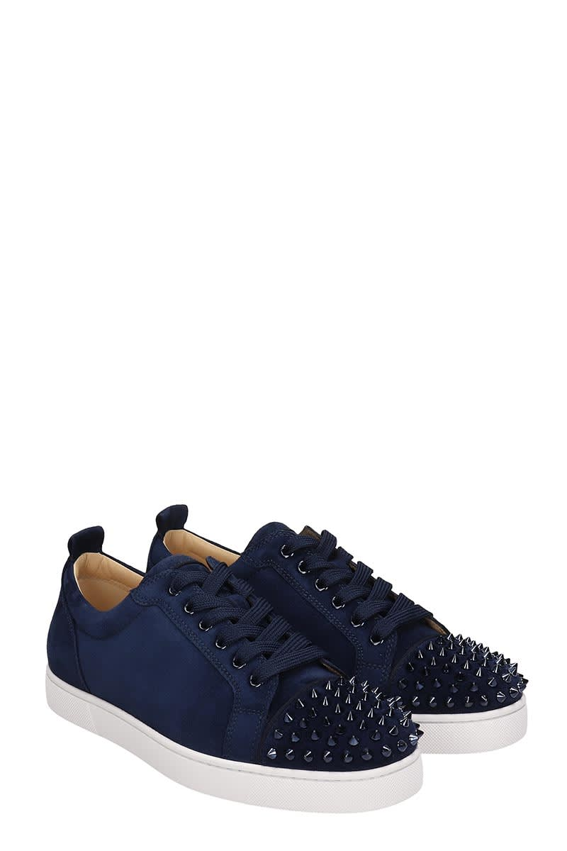 promo code fe579 a8bd5 Christian Louboutin Louis Junior Spikes Blue Suede Sneakers