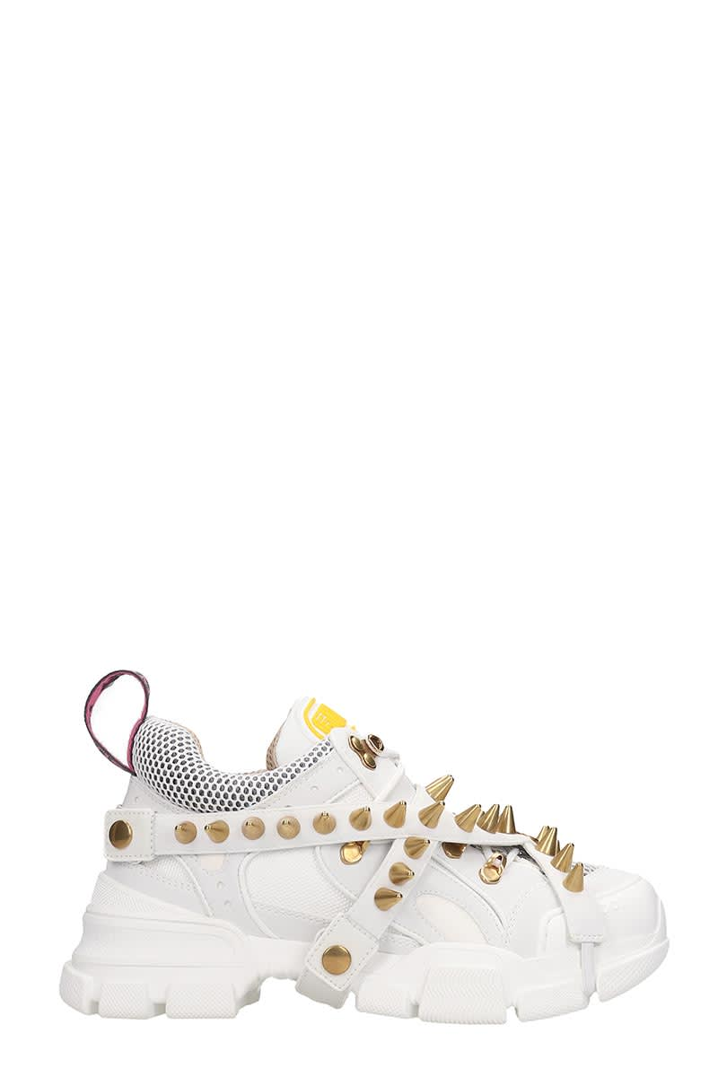 Gucci Flashtrek Sneakers In White Leather