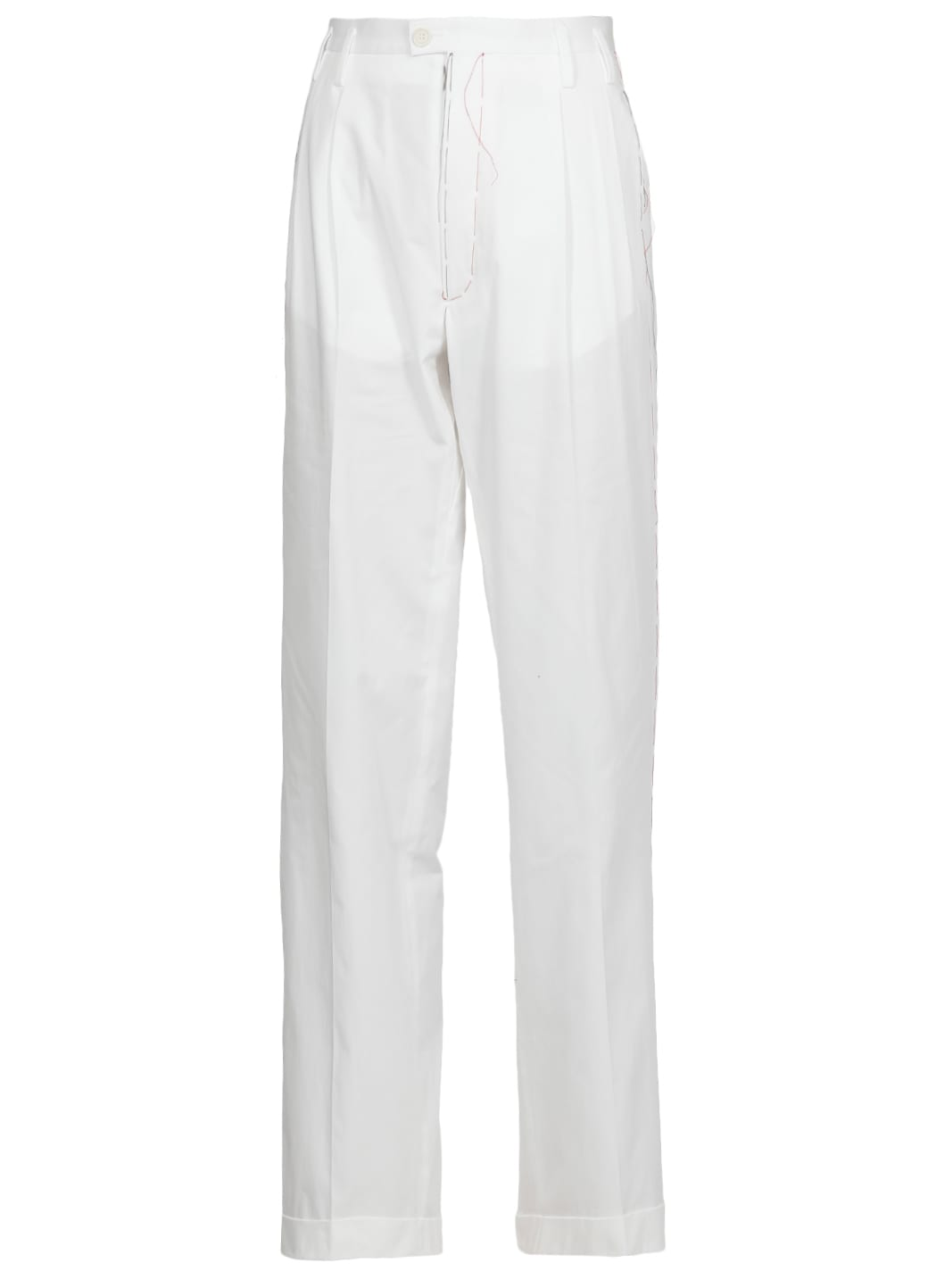 MAISON MARGIELA COTTON PANTS WITH VISIBLE STITCHINGS