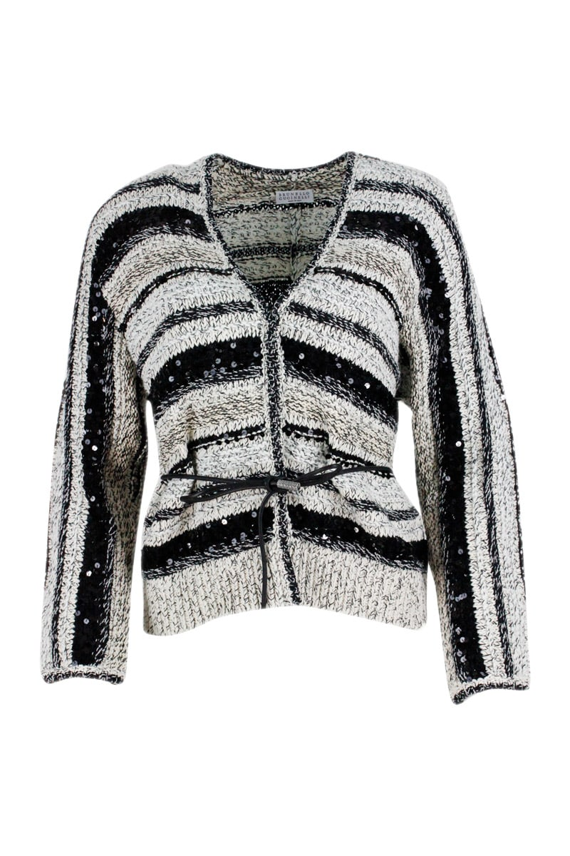 Brunello Cucinelli Leathers CARDIGAN SWEATER WITH CONCEALED BUTTON AND LEATHER STRAP. IN COTTON AND JUTE WITH SEQUINS
