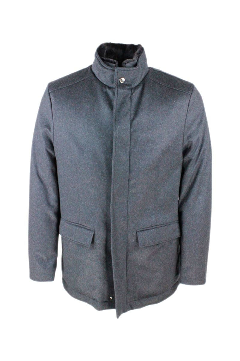 Cashmere Padded Jacket With Detachable Fur Collar