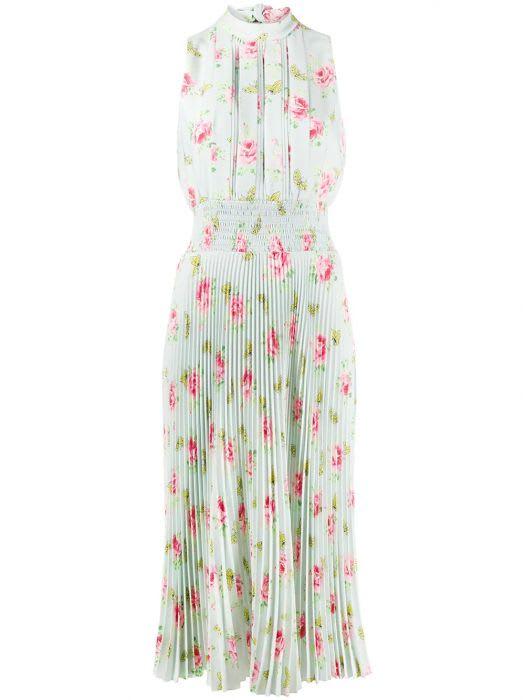 Buy Prada Prada Floral Print Pleated Dress online, shop Prada with free shipping