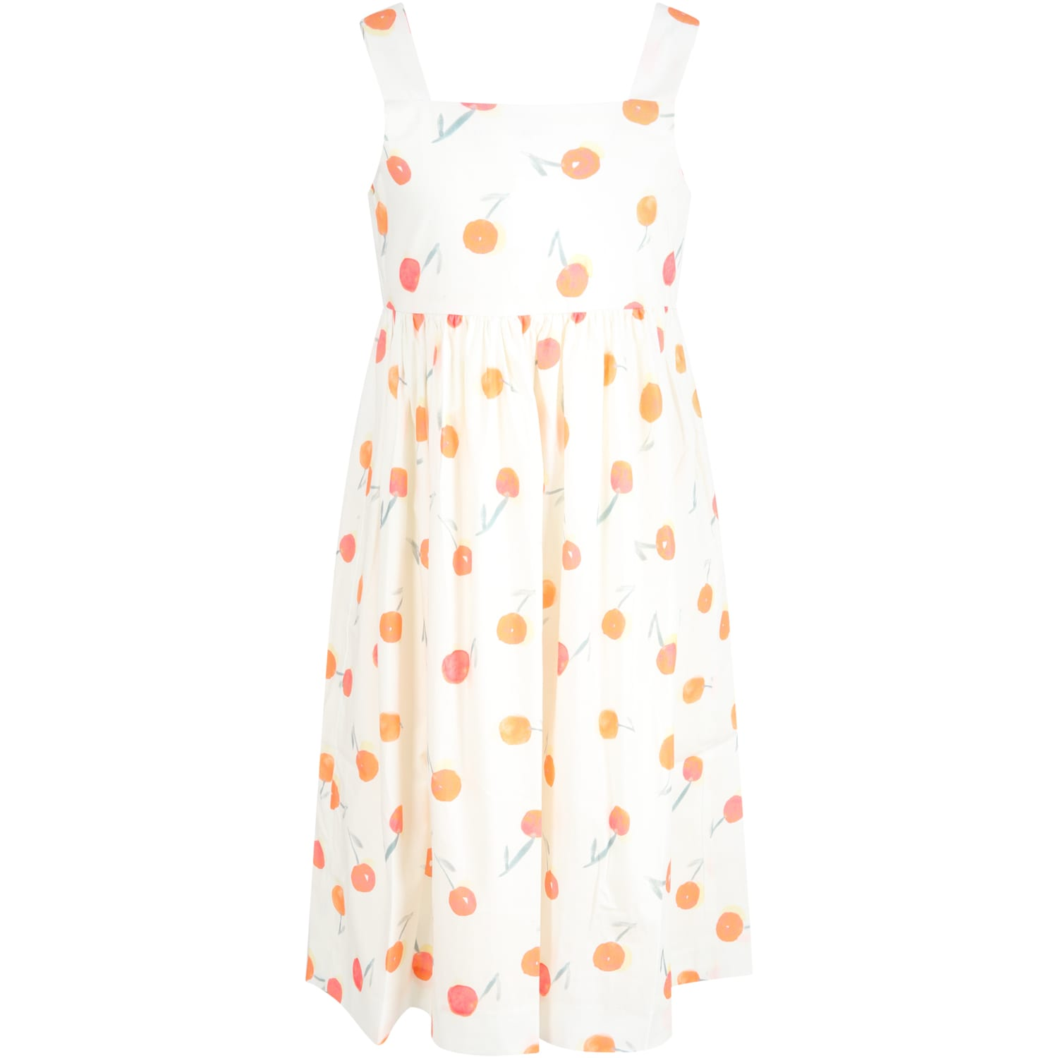 Ivory Dress For Girl With Cherries