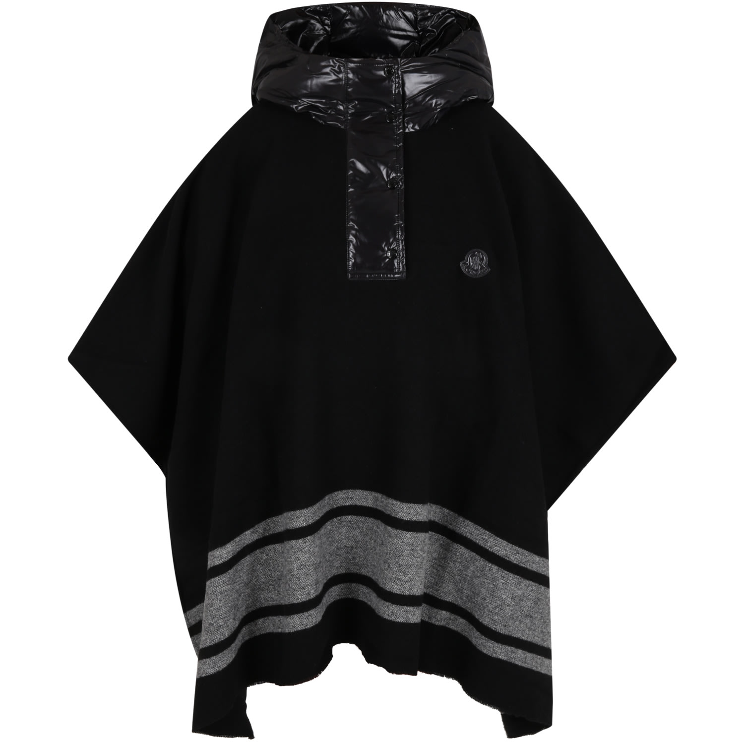 Moncler Black Poncho For Kids With Logo