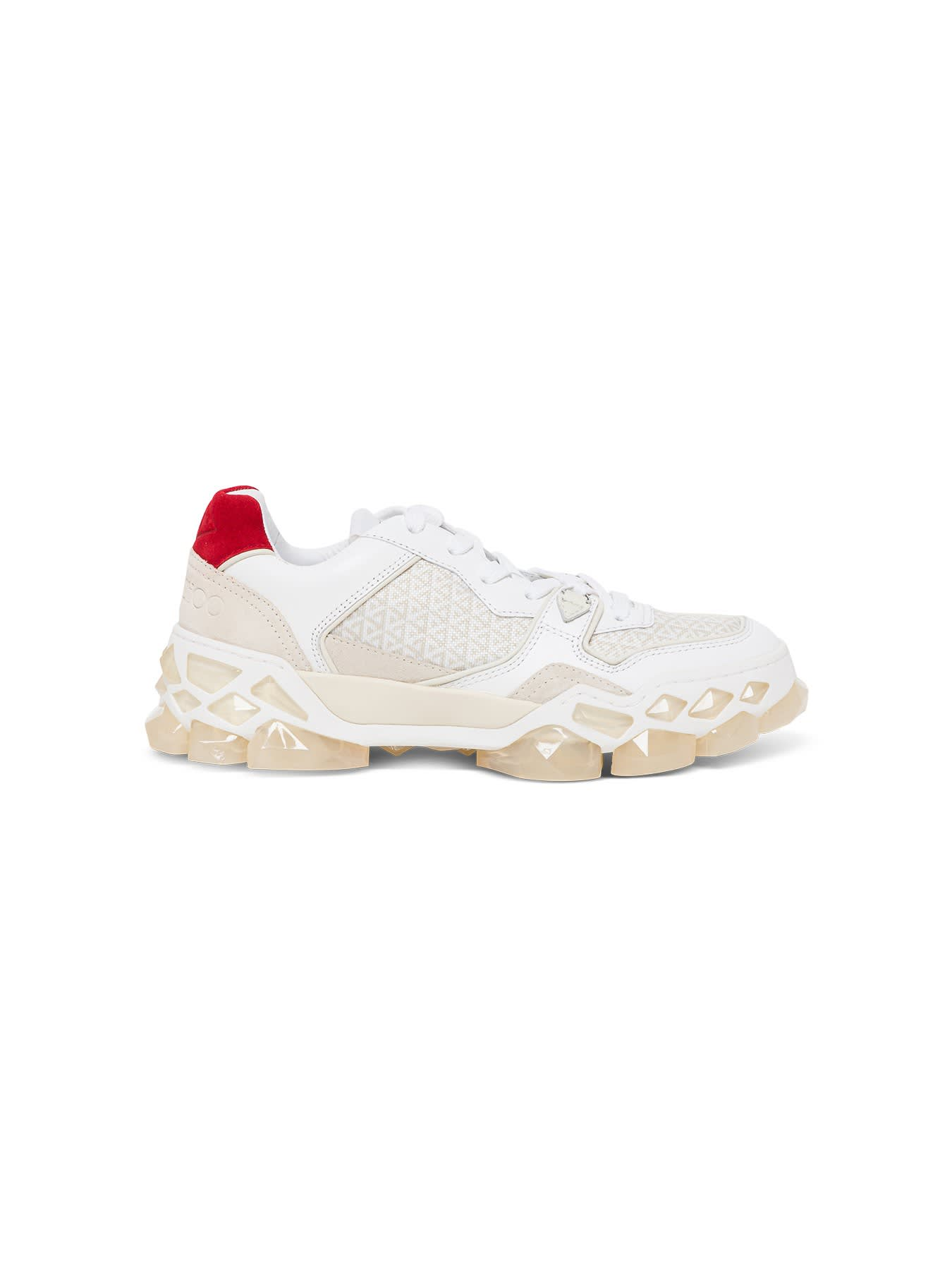 JIMMY CHOO SNEAKER DIAMOND X TRAINER IN CALF LEATHER, CROSTA SUEDE AND PRINTED NYLON
