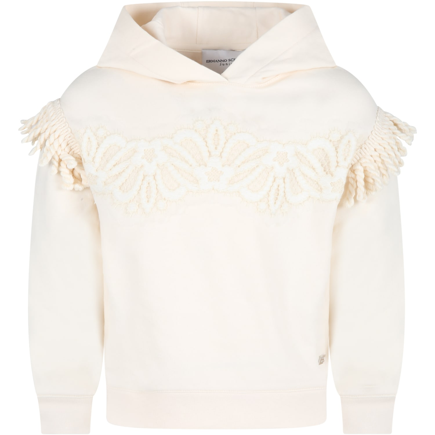 Ivory Sweatshirt For Girl With Logo Patch