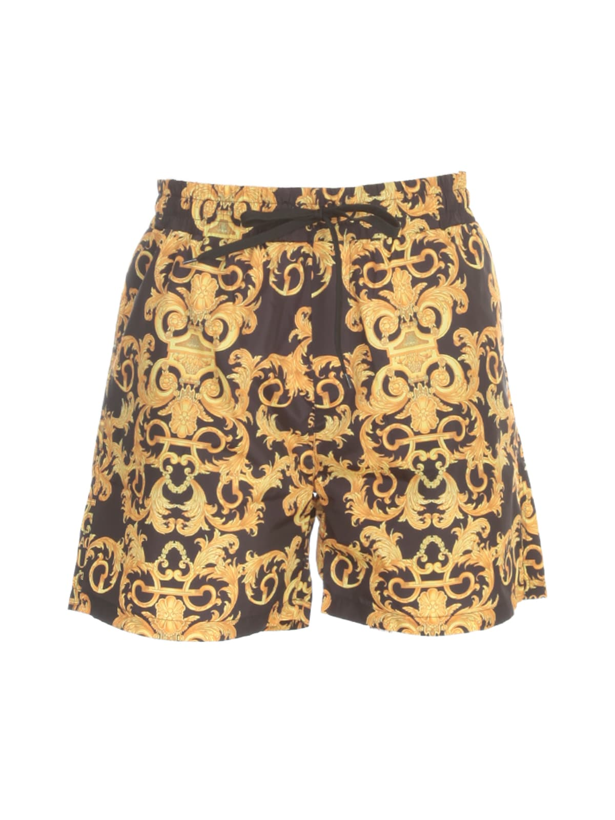 Versace Jeans Couture Printed Logo Baroque Shorts In Nero