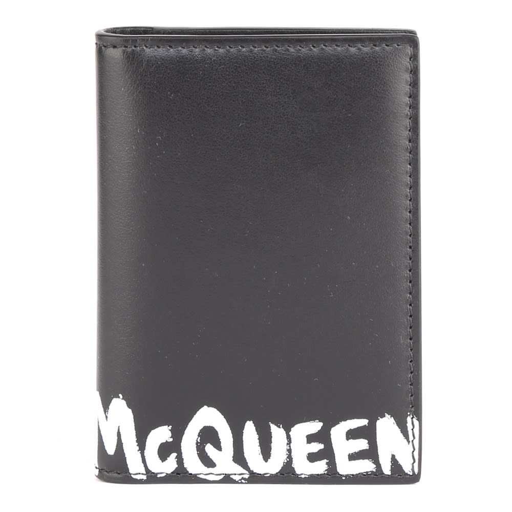 Alexander McQueen Black Leather Card Holder With Logo