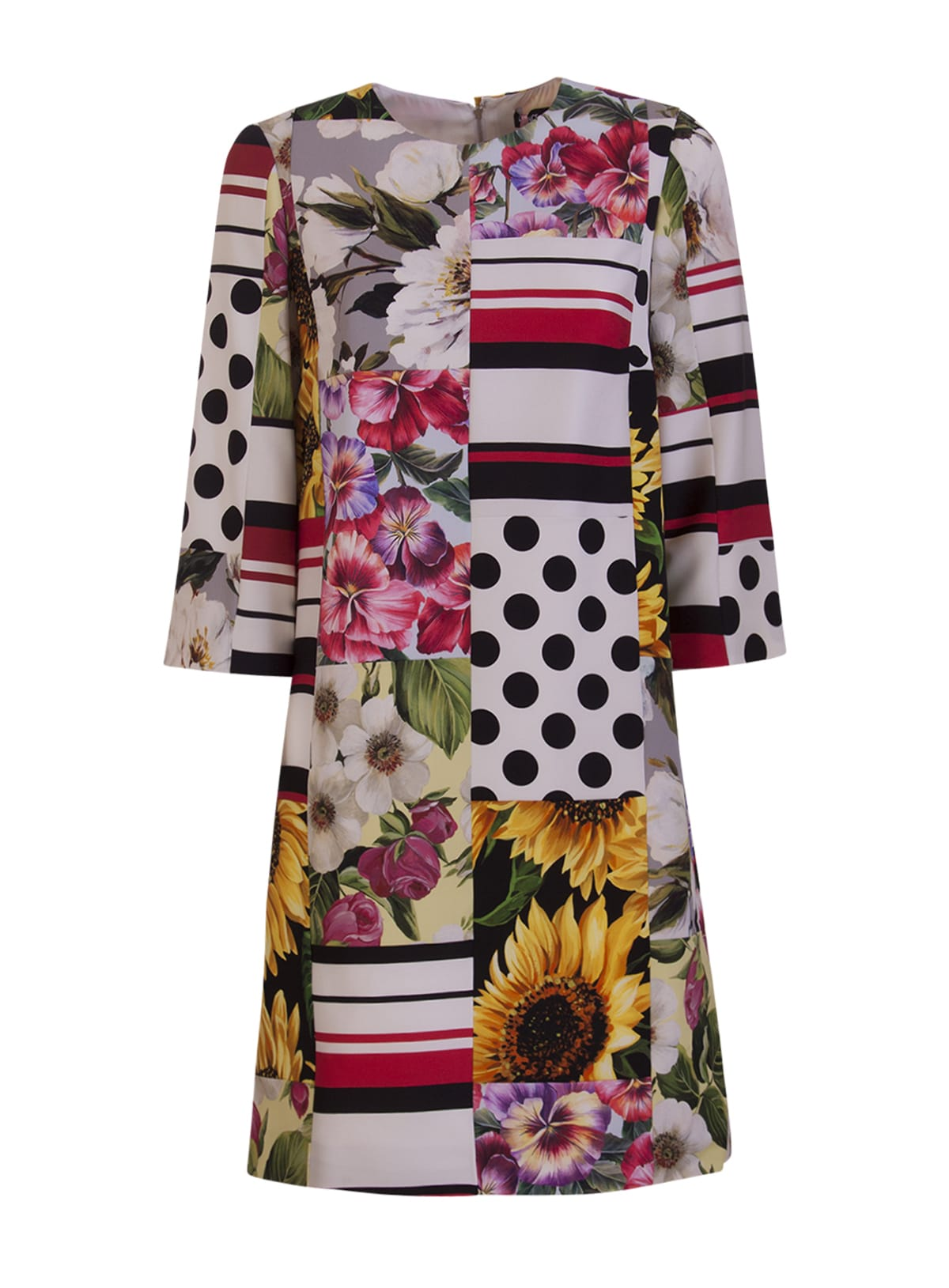 Dolce & Gabbana Charmeuse Patchwork Dress