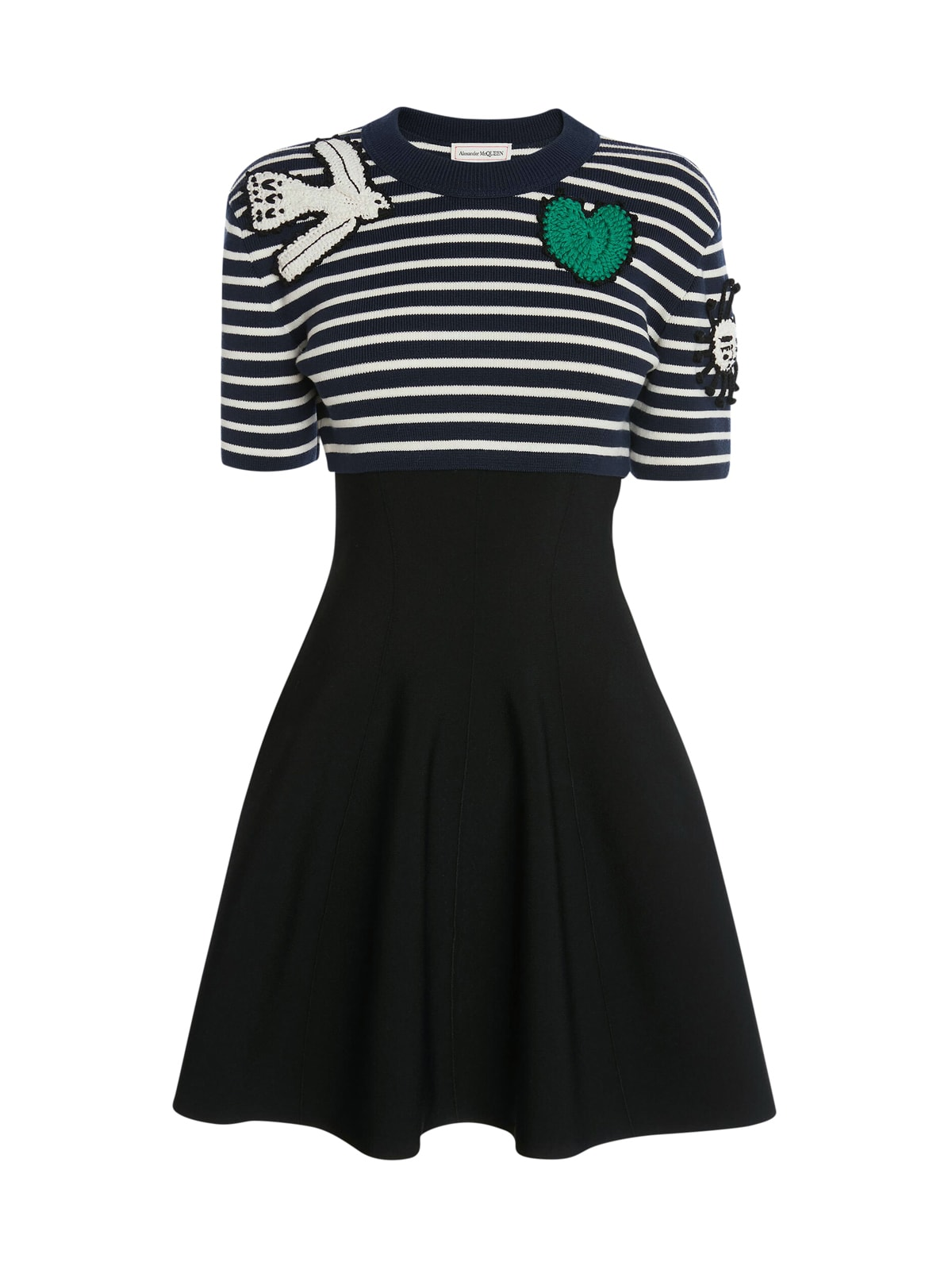 Buy Alexander McQueen Crochet Patches Knit Mini Dress online, shop Alexander McQueen with free shipping