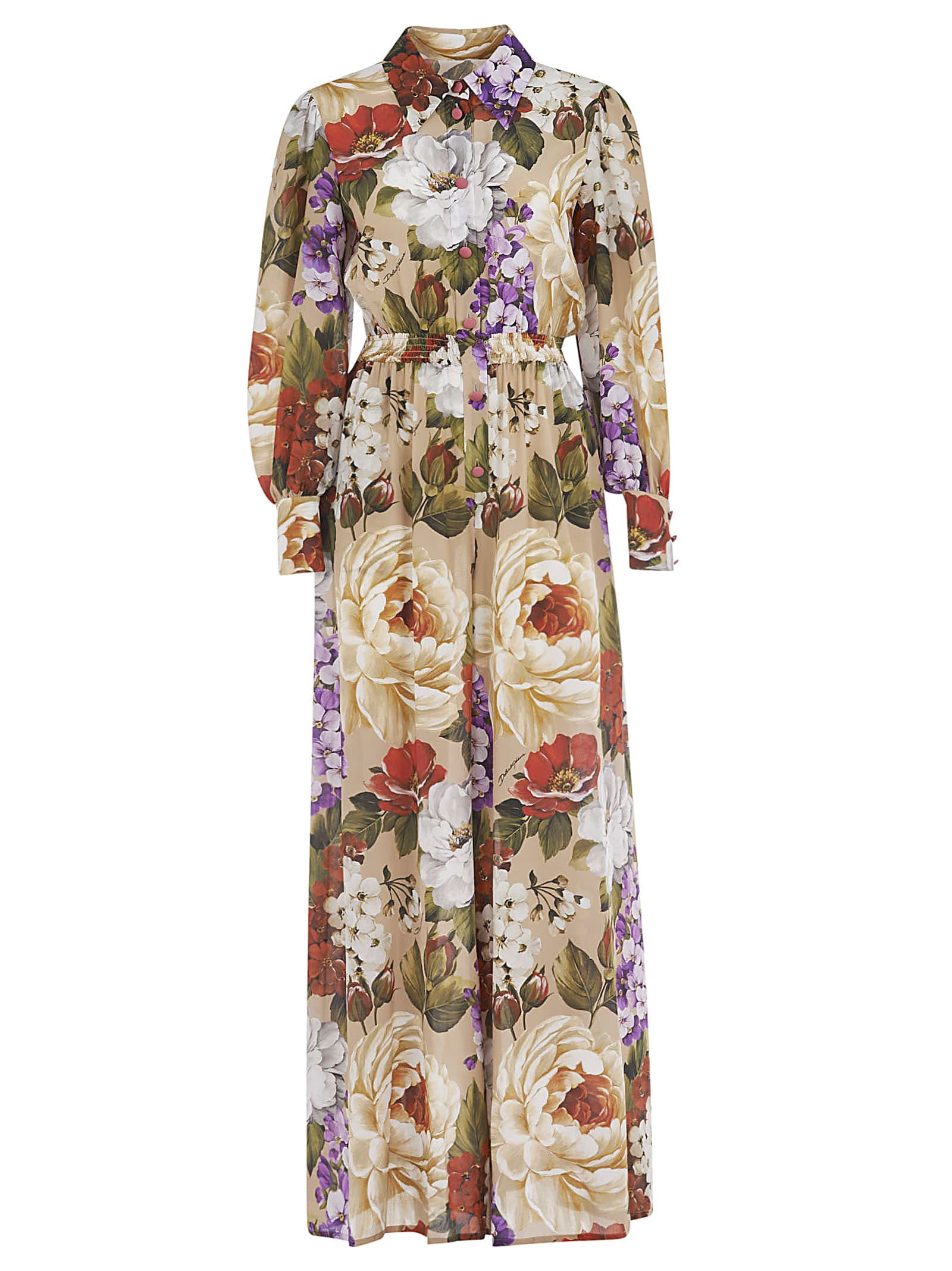 Buy Dolce & Gabbana Floral Print Belted Waist Maxi Dress online, shop Dolce & Gabbana with free shipping