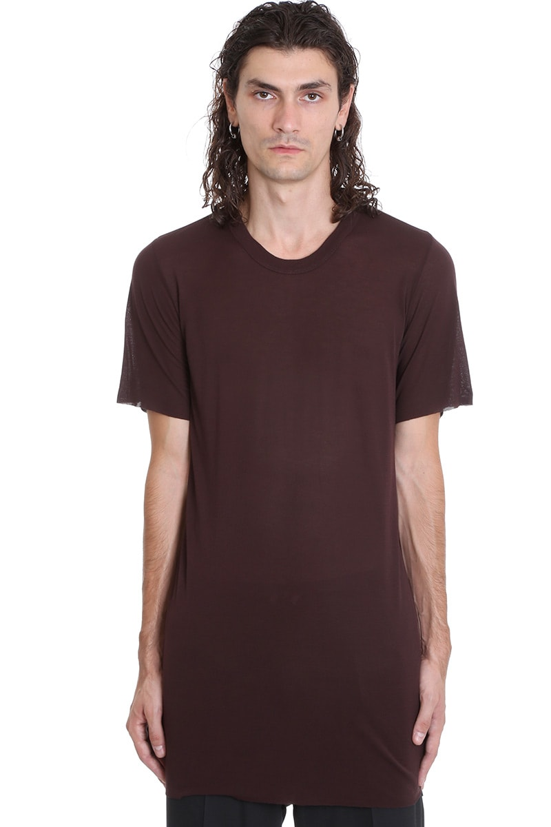 Rick Owens Basic Ss Tee T-shirt In Bordeaux Viscose