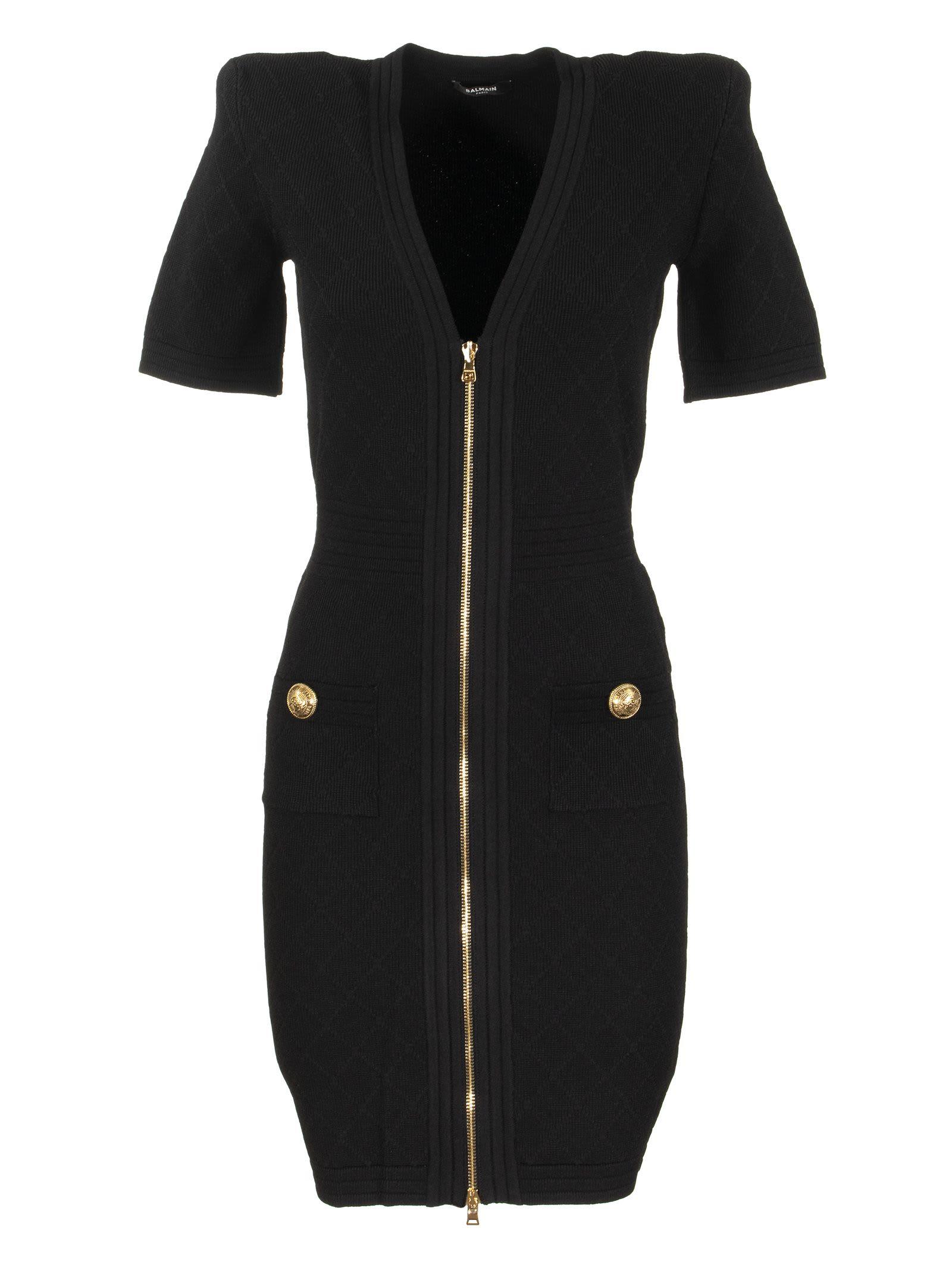 Balmain Short Black Knit Dress With Gold-tone Zip Closure