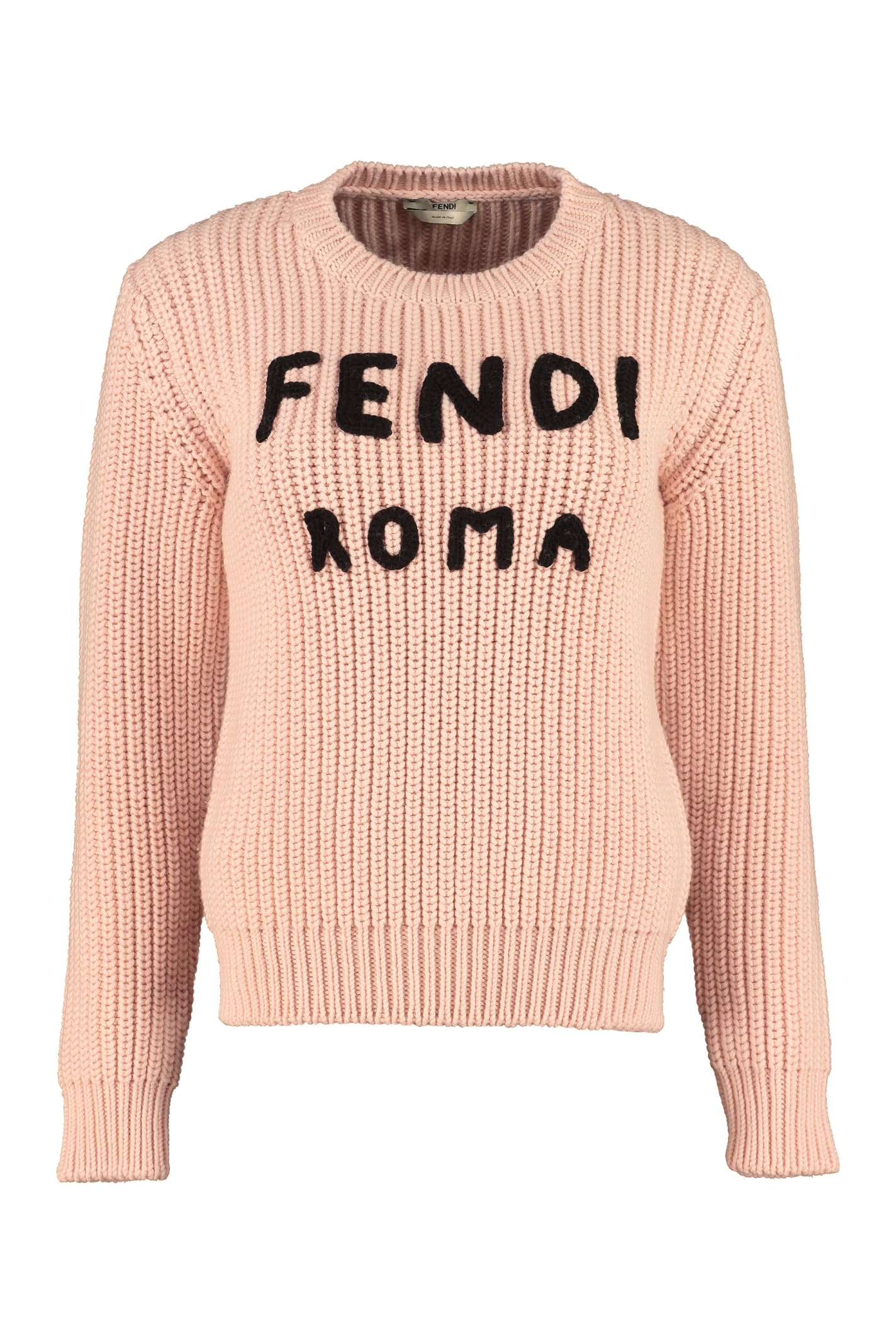 Fendi Wool Crew-neck Pullover In Pink