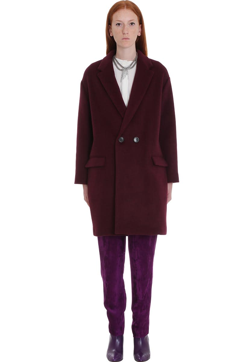 Isabel Marant Filipo Coat In Bordeaux Wool