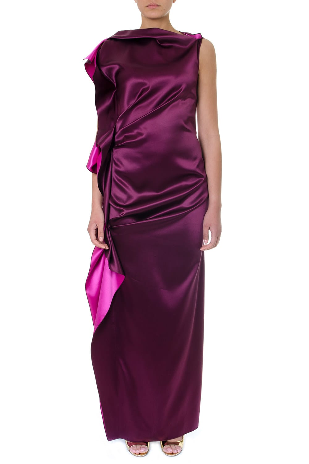 Photo of  Lanvin Long Cut Fuxia Silk Rouches Dress- shop Lanvin Dresses online sales