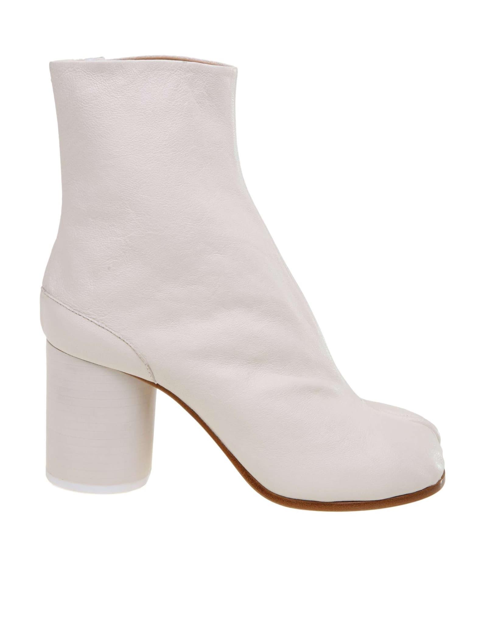 Maison Margiela Tabi Boots In Soft White Nappa