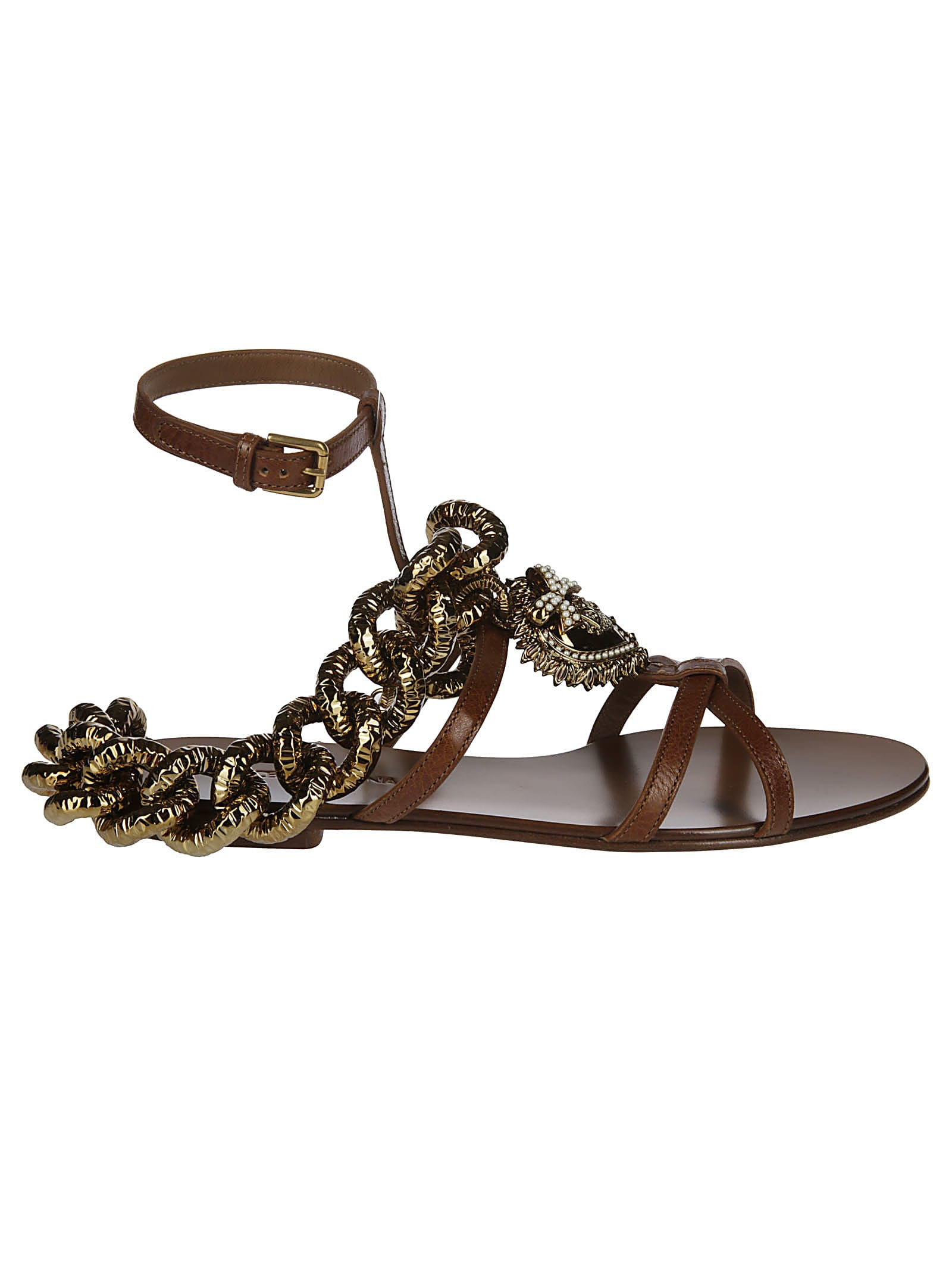 Dolce & Gabbana Brown Leather Devotion Sandals