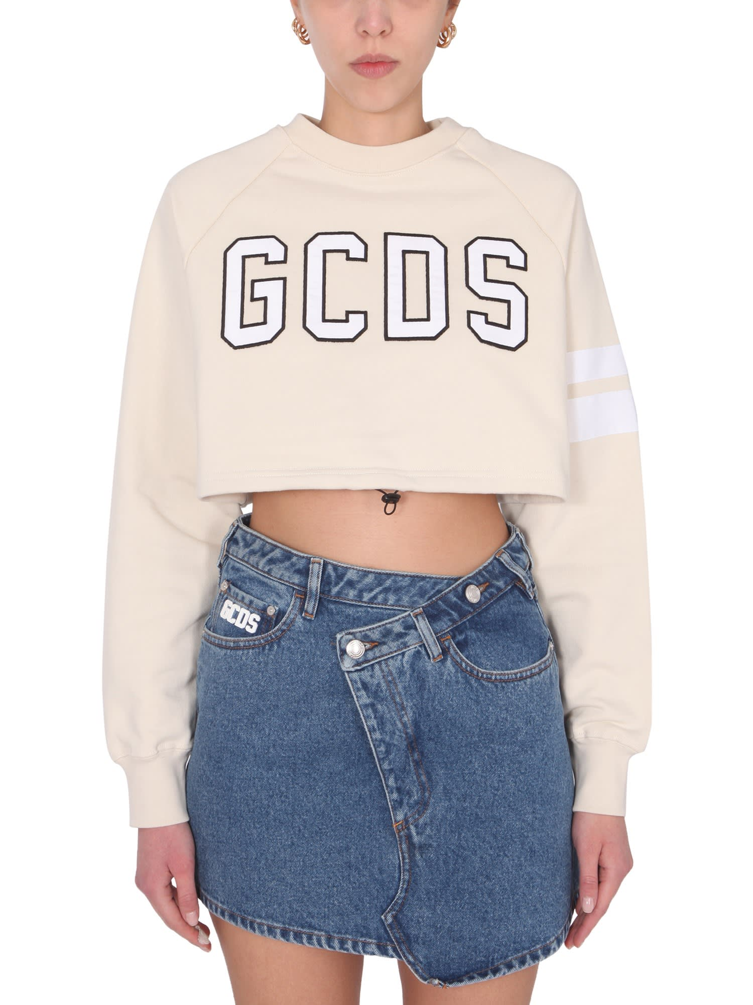 Gcds Cottons CROPPED SWEATSHIRT WITH LOGO