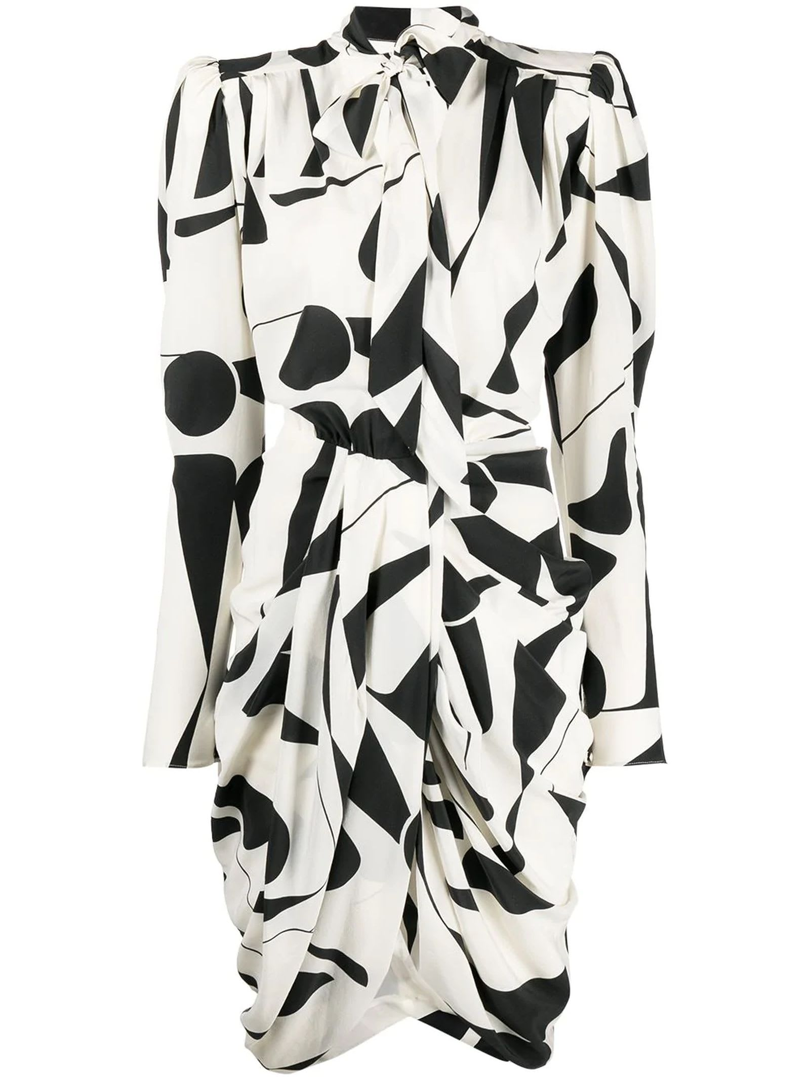 Isabel Marant Ecru And Black Stretch-silk Dress