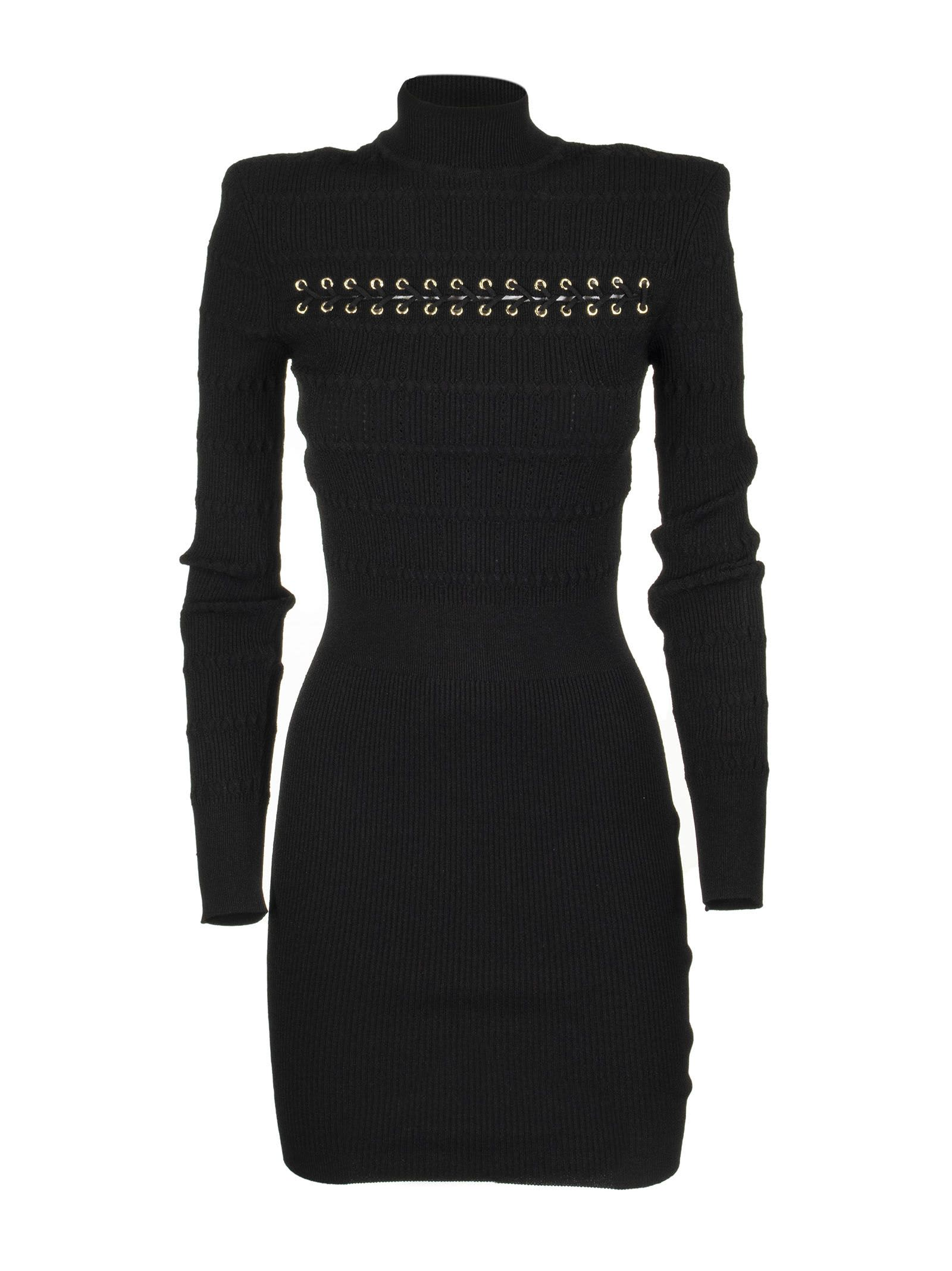 Buy Balmain Black Viscose Dress online, shop Balmain with free shipping