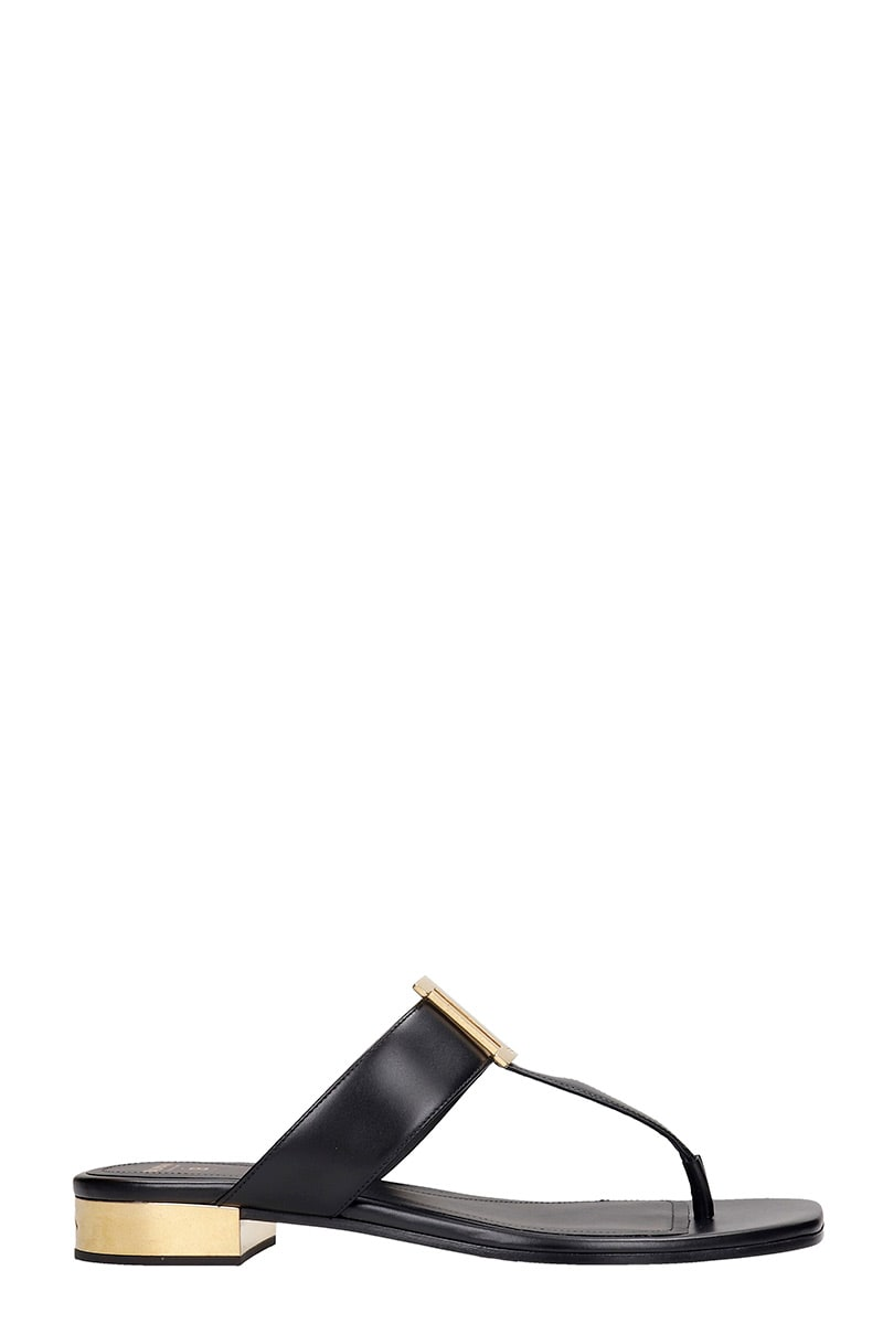 Buy Balmain Sofia Flats In Black Leather online, shop Balmain shoes with free shipping