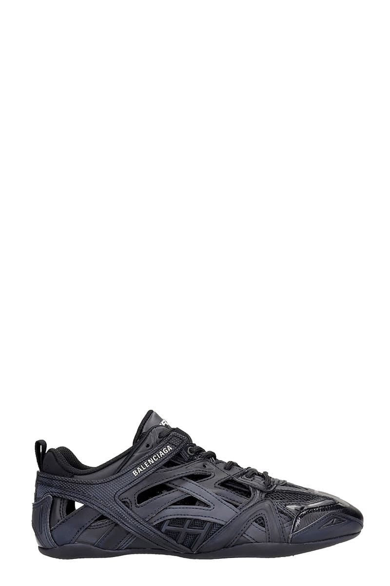 Balenciaga Drive Sneakers In Black Leather And Fabric