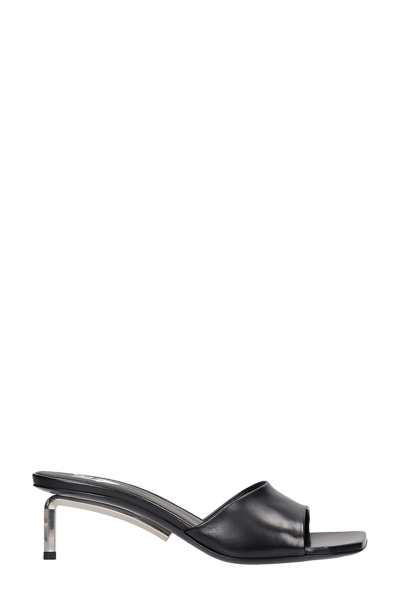 Off-White OPEN TOE MULE FLATS IN BLACK LEATHER