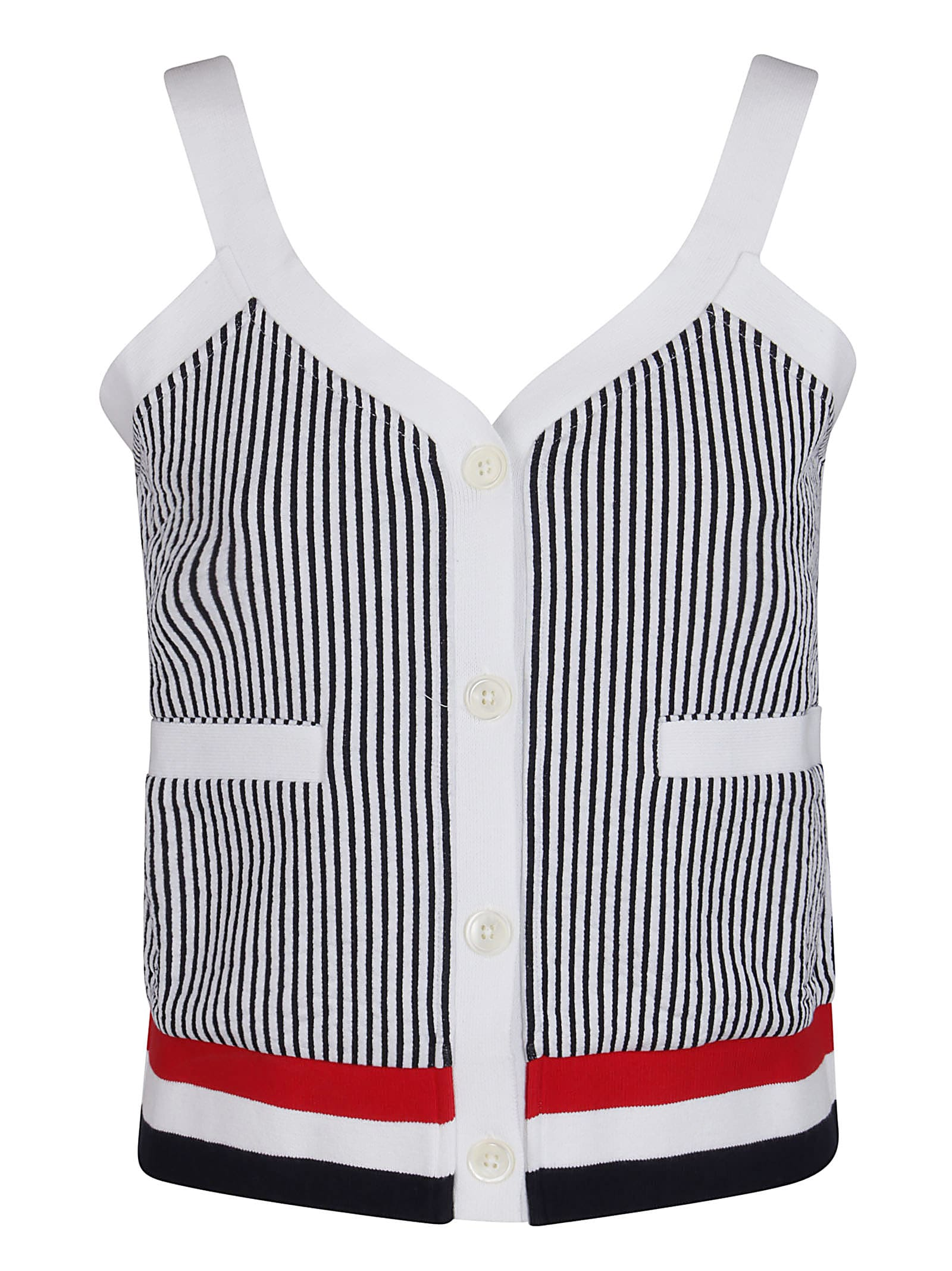 Thom Browne WHITE, NAVY AND RED COTTON TOP