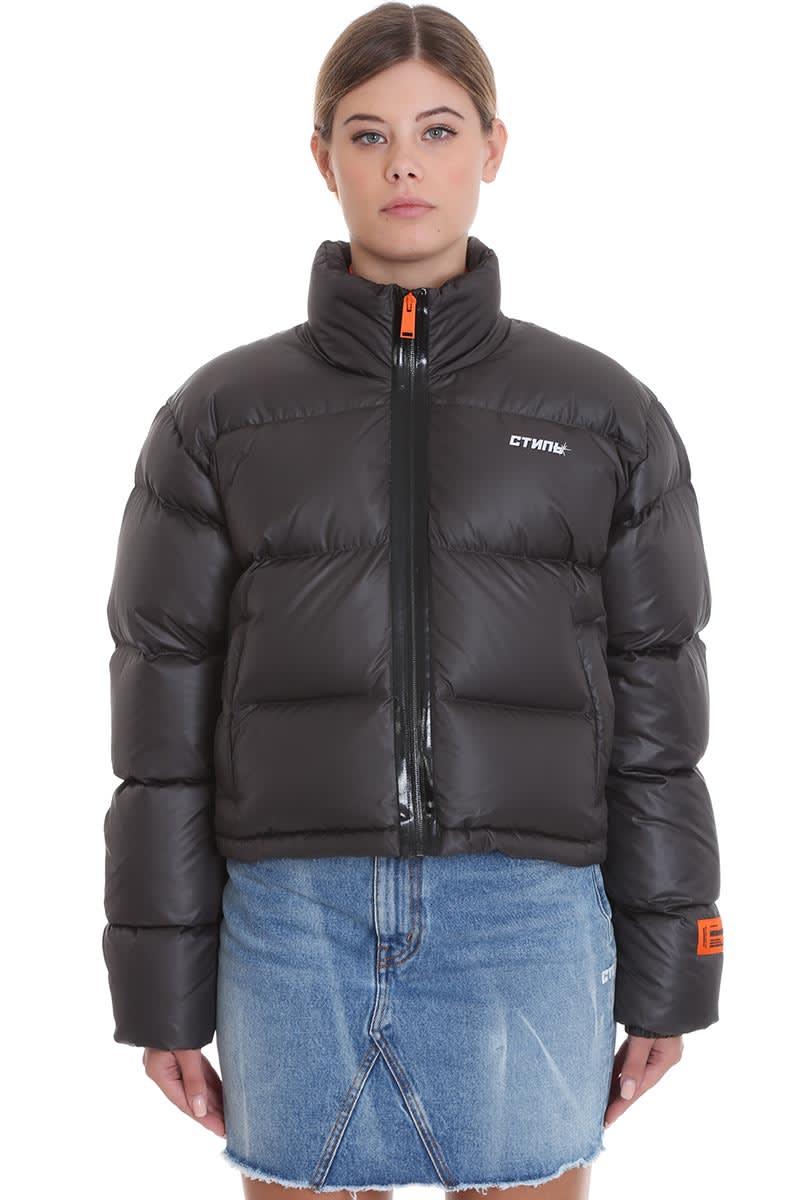 HERON PRESTON Crop Puffer Clothing In Black Polyester