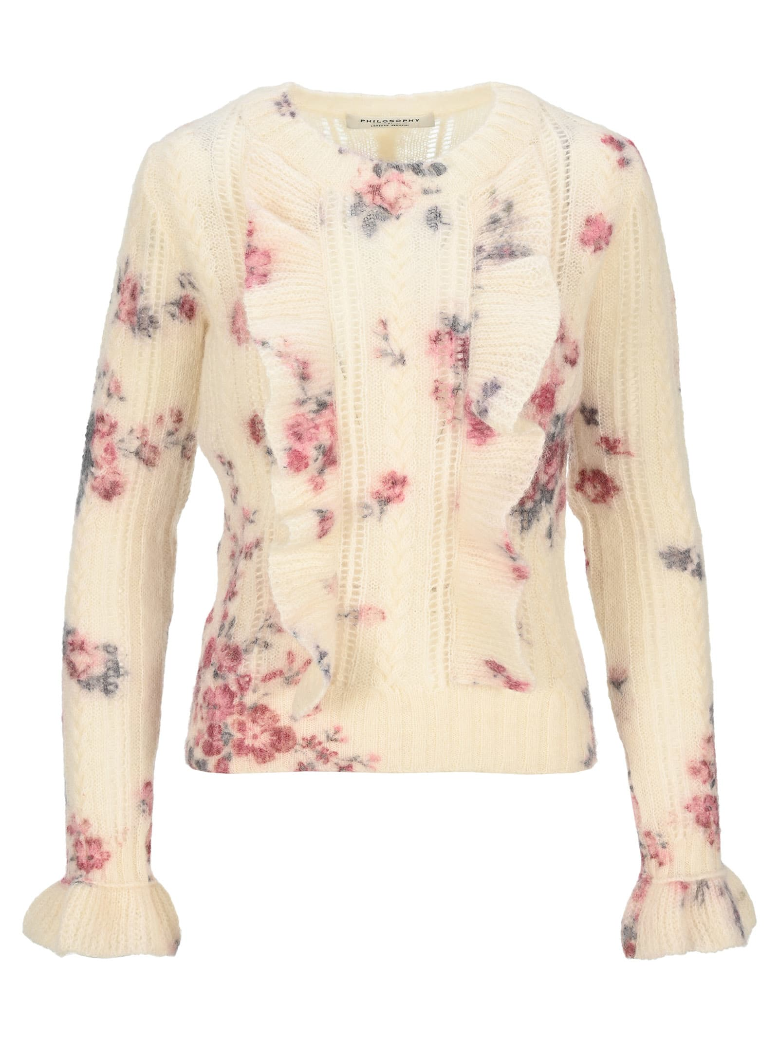 Philosophy Floral Ruffle Sweater