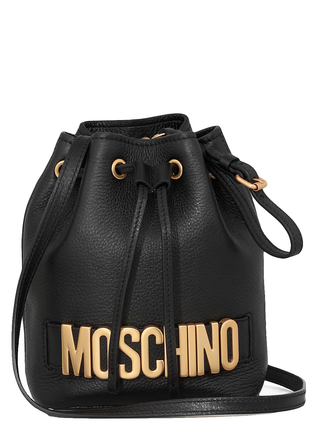 Moschino Leathers BUCKET BAG WITH LOGO