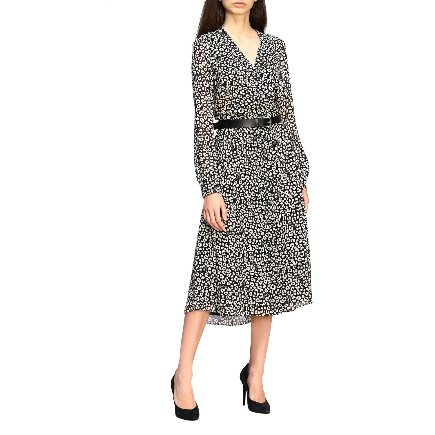 Buy Michael Michael Kors Dress Michael Michael Kors Dress With Floral Print And Belt online, shop MICHAEL Michael Kors with free shipping