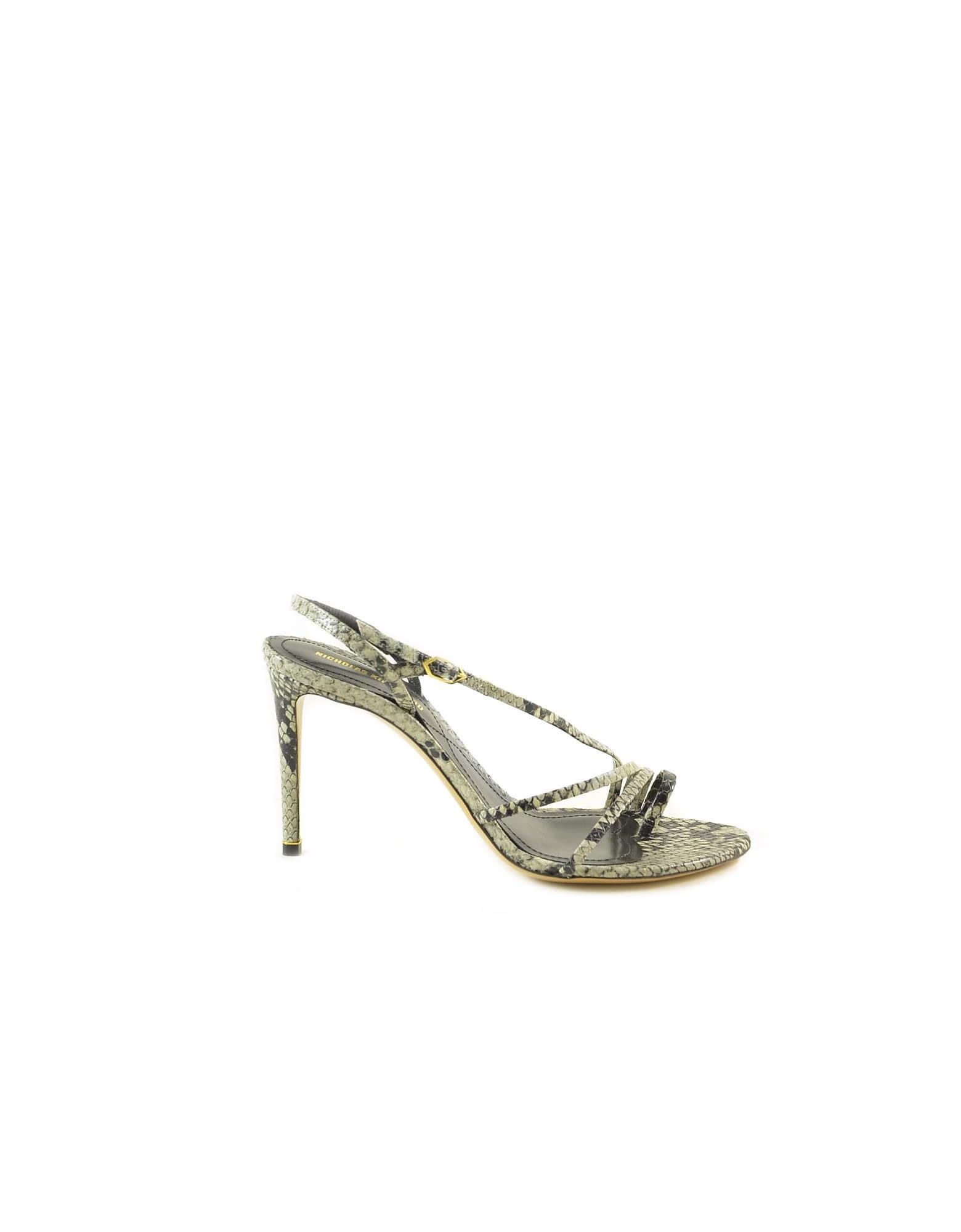 Buy Nicholas Kirkwood Snake Print Leather High Heel Sandals online, shop Nicholas Kirkwood shoes with free shipping