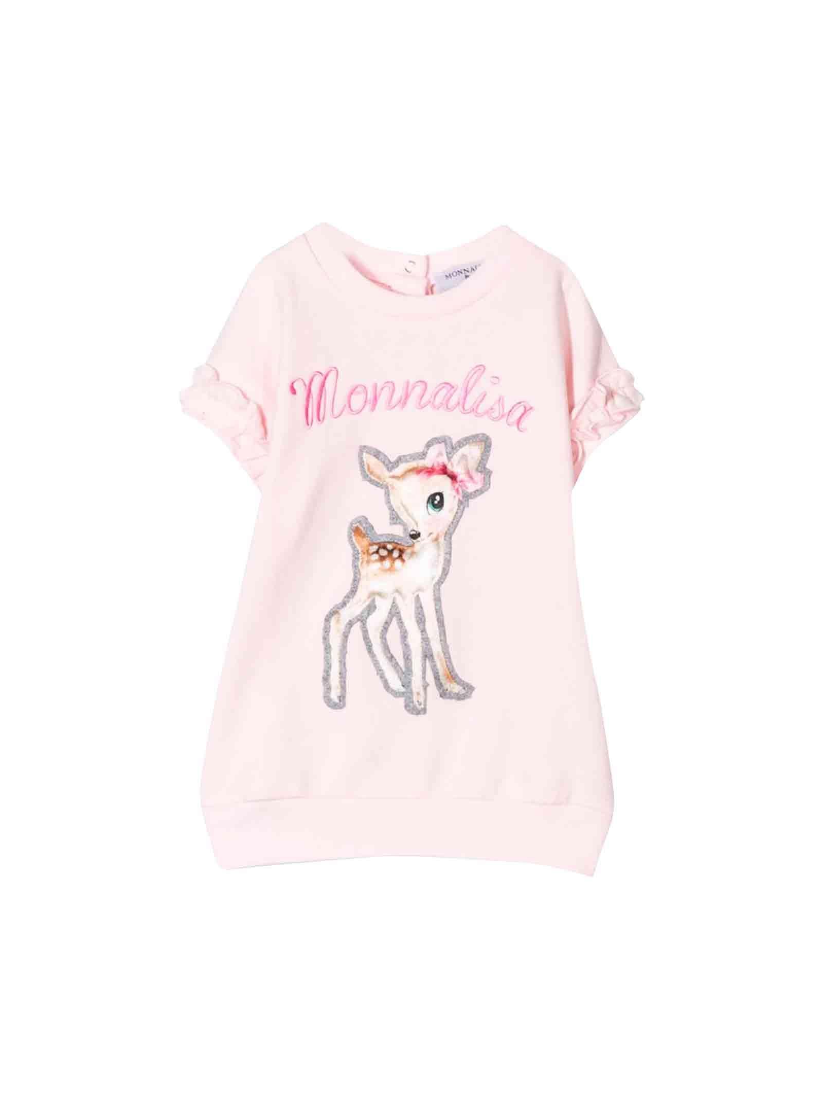 Monnalisa Pink Knit Dress