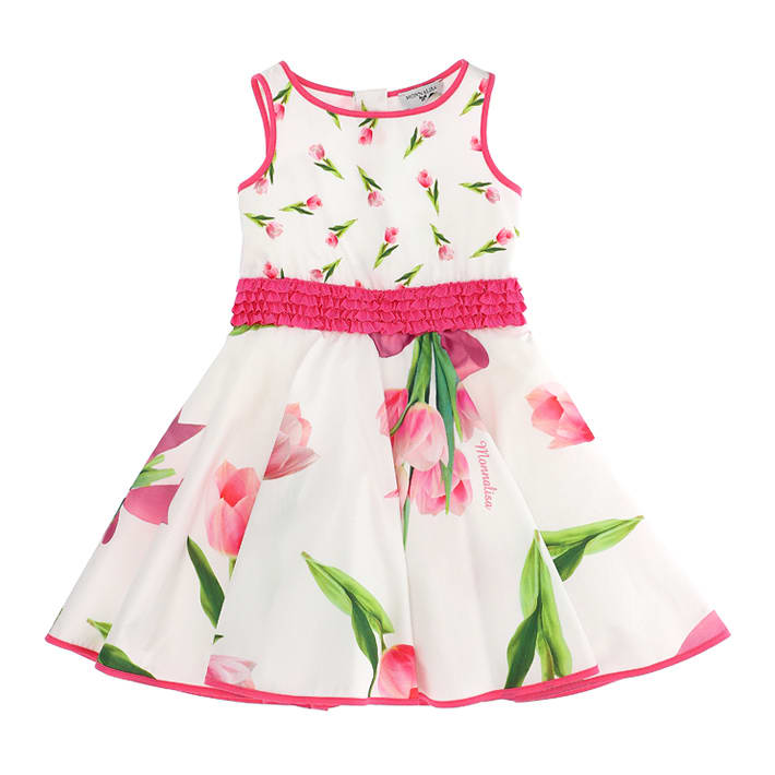 Buy Monnalisa Tulips Print Popeline Dress online, shop Monnalisa with free shipping