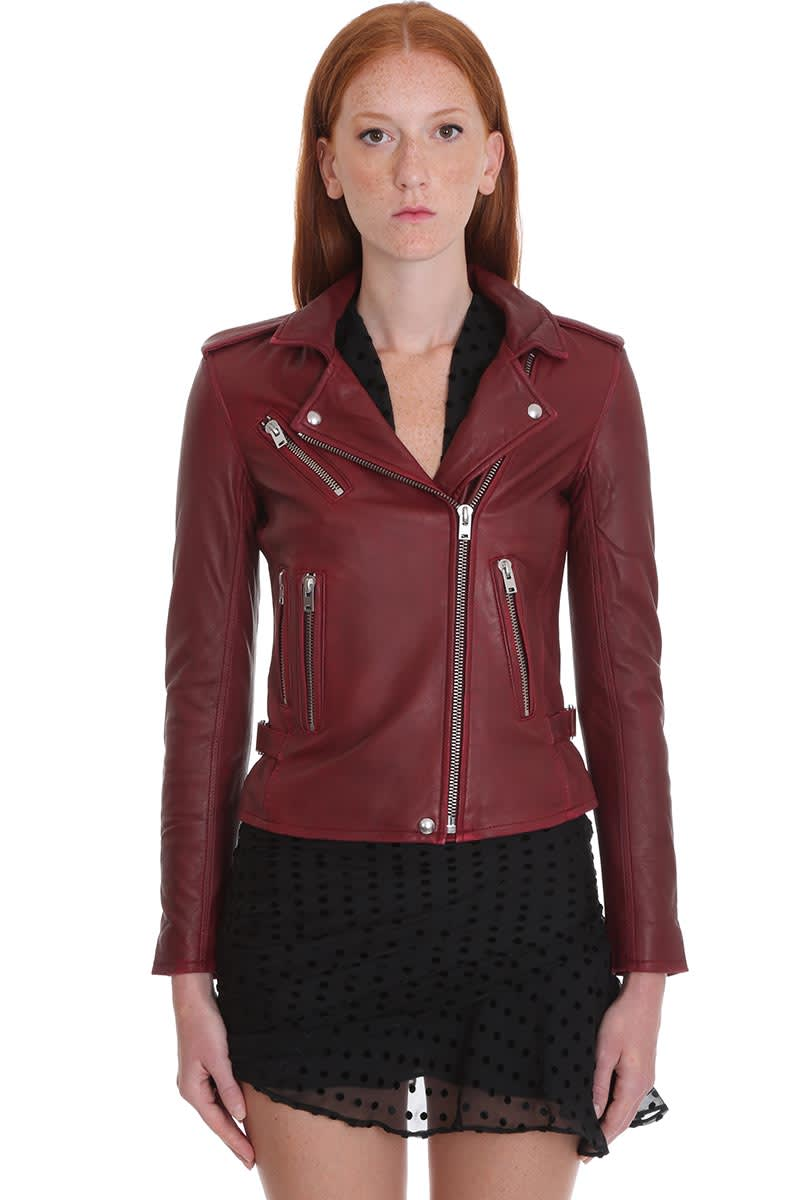 IRO Newhan Leather Jacket In Red Leather