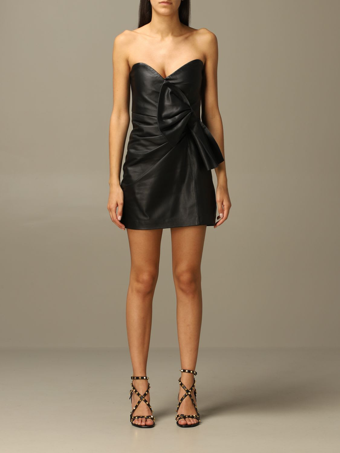 Red Valentino Dress Red Valentino Leather Dress With Big Bow