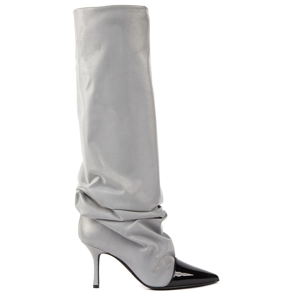 Grey Satin Boots