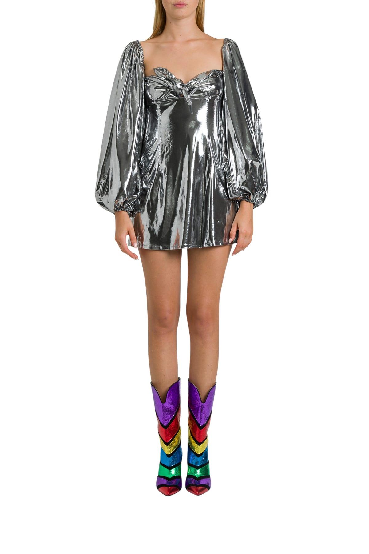 Buy The Attico Silver Lamé Mini Dress online, shop The Attico with free shipping