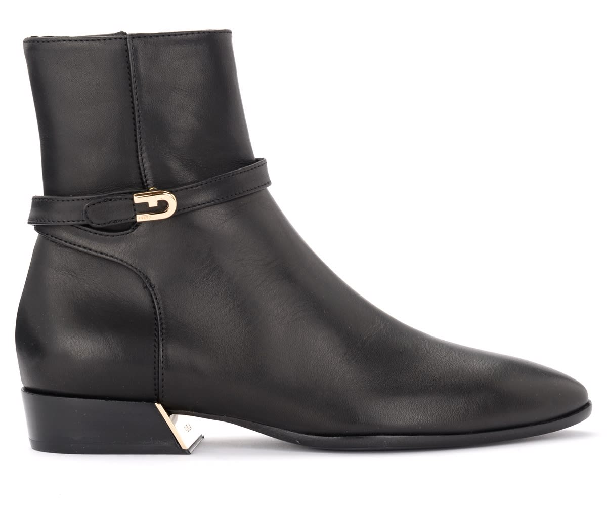 Furla GRACE ANKLE BOOT IN BLACK LEATHER