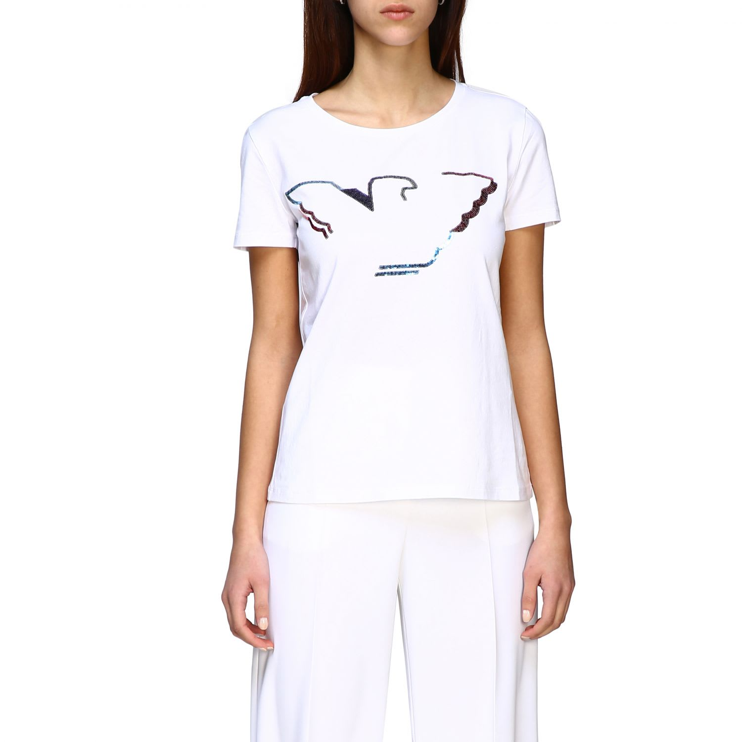 Emporio Armani Short-sleeved T-shirt With Sequin Logo In White