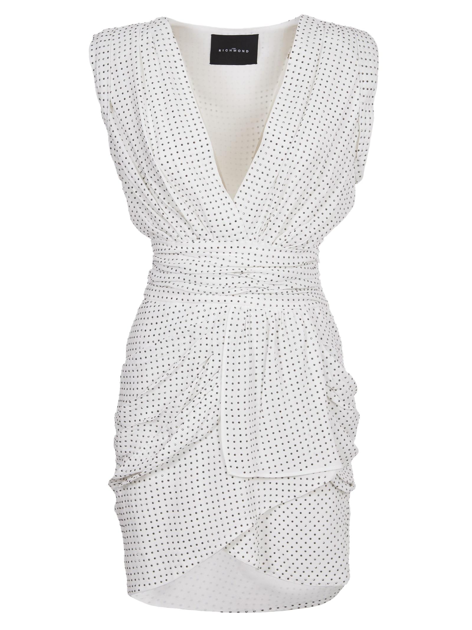 Buy John Richmond White Dress With Silver Studs online, shop John Richmond with free shipping